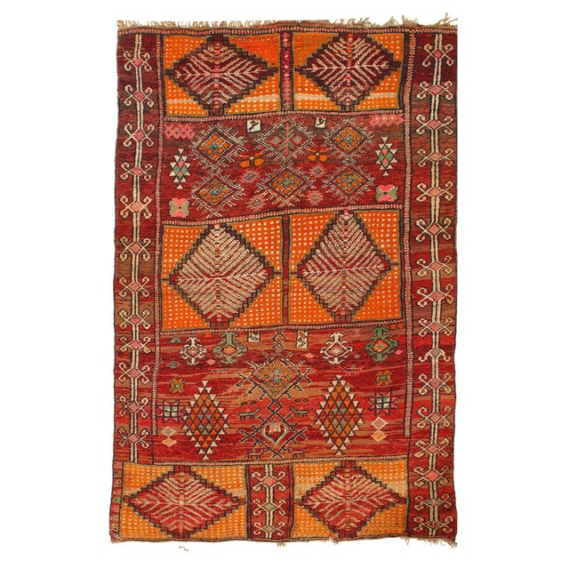 Vintage Red Fine Hand Knotted Moroccon Rug 5'6'' X 8'11'' For Sale - Image 4 of 4