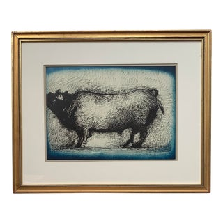 1942 Vintage Marino Marini Original Abstract Toro Framed Lithograph For Sale