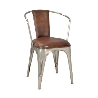 Industrial Nickel Dining Chair For Sale