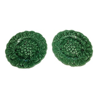 French Majolica Green Leaf Grape Plates - a Pair For Sale