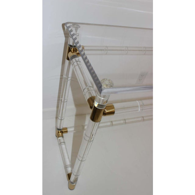 Late 20th Century Lucite and Brass Console Table by Charles Hollis Jones For Sale - Image 5 of 13