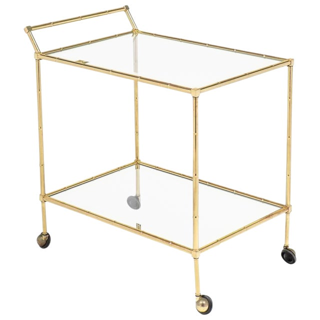 Vintage French Brass Faux Bamboo Bar Cart or Trolley by Maison Baguès For Sale