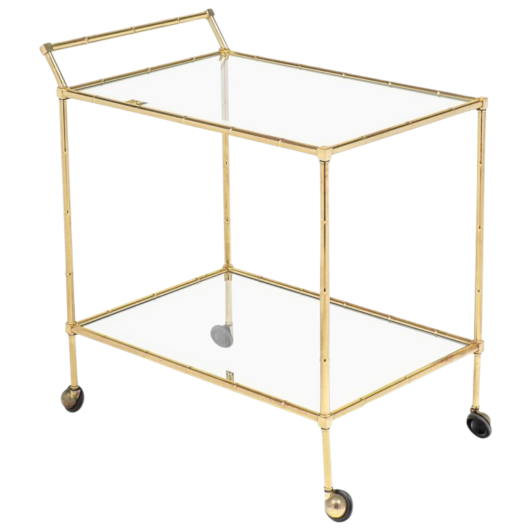 Vintage French Brass Faux Bamboo Bar Cart Or Trolley By Maison Baguès    Image 1 Of