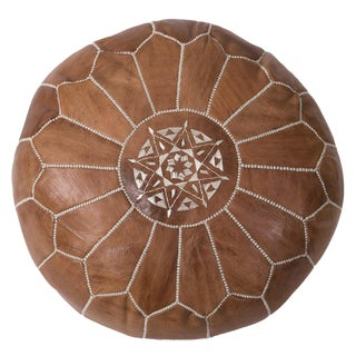 Embroidered Leather Pouf, Desert Tan For Sale