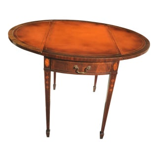 Mahogany Leather Top Drop Side Pembroke Table For Sale