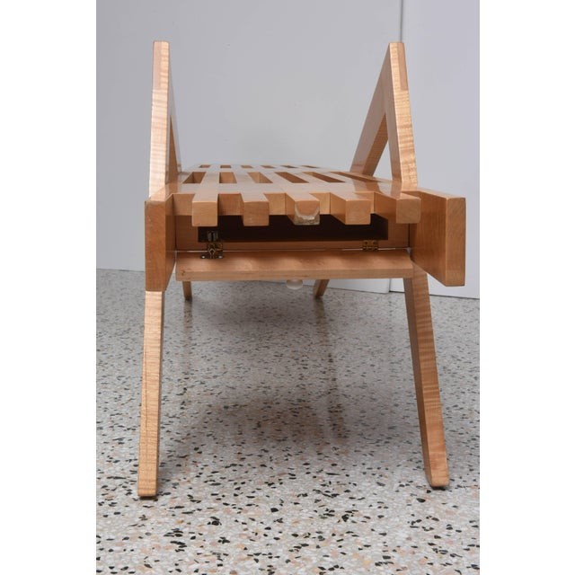 "Tan Bespoke Wood, ""Grasshopper"" Bench by the American Architect, Marc Phiffer For Sale - Image 8 of 10"
