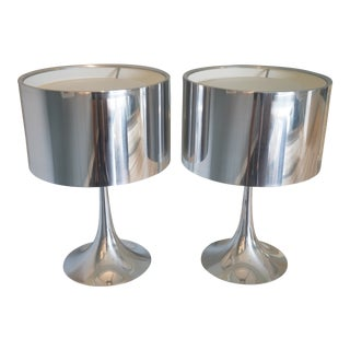 Flos Spun T1 Table Lamps in Chrome - a Pair For Sale