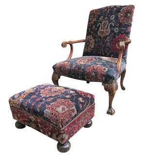 Georgian Armchair With Footrest Set For Sale