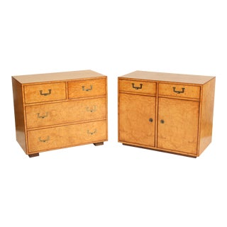 20th Century Biedermeier John Widdicomb Chest of Drawers and Matching Cabinet - 2 Pieces For Sale