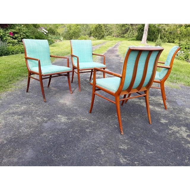 Wood Vintage Mid Century T.H. Robsjohn Gibbings for Widdicomb Saber Leg Armchairs- Set of 4 For Sale - Image 7 of 13