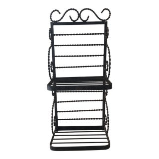 Vintage Wrought Iron Wall Bakers Rack For Sale