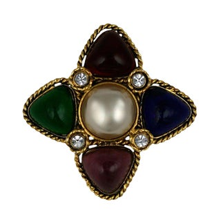 Chanel Multicolored Poured Glass Brooch For Sale