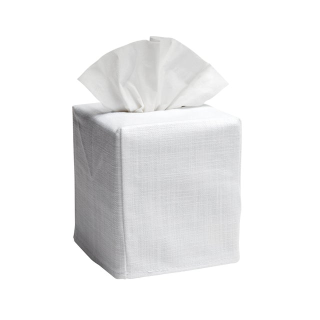 """Size: W-4 ½"""", D-4 ½"""", H-5 ¼"""" (Fits the standard Puffs & Kleenex cubes) Fabric: White Linen / Cotton Embroidery: Blue..."""