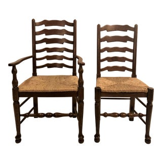 Set of 8 English Oak Ladder Back Dining Chairs, 2 Arm Chairs and 6 Side Chairs. For Sale