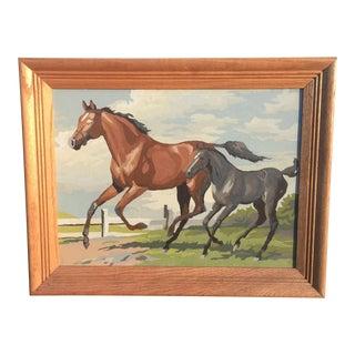 Vintage Horse Painting, Framed