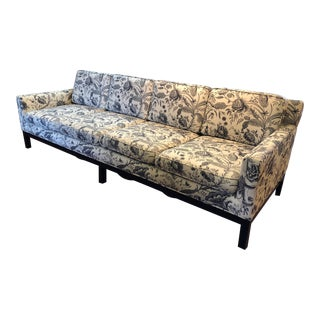 Vintage Mid Century Black and White Print Sofa For Sale