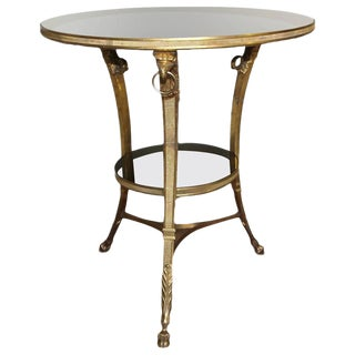 French Neoclassical Gilt Bronze Glass Eagle Gueridon Side Table For Sale