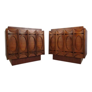 Brutalist Modern Sculpted Front End Tables - A Pair For Sale