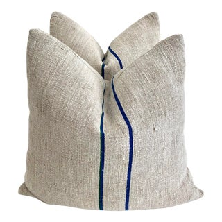 Belgian Grainsack Feather/Down Pillows - a Pair For Sale
