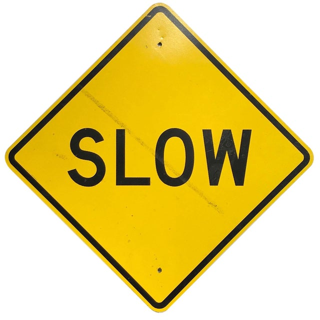 Yellow Vintage Reflective Slow Traffic Caution Construction Sign For Sale - Image 8 of 8