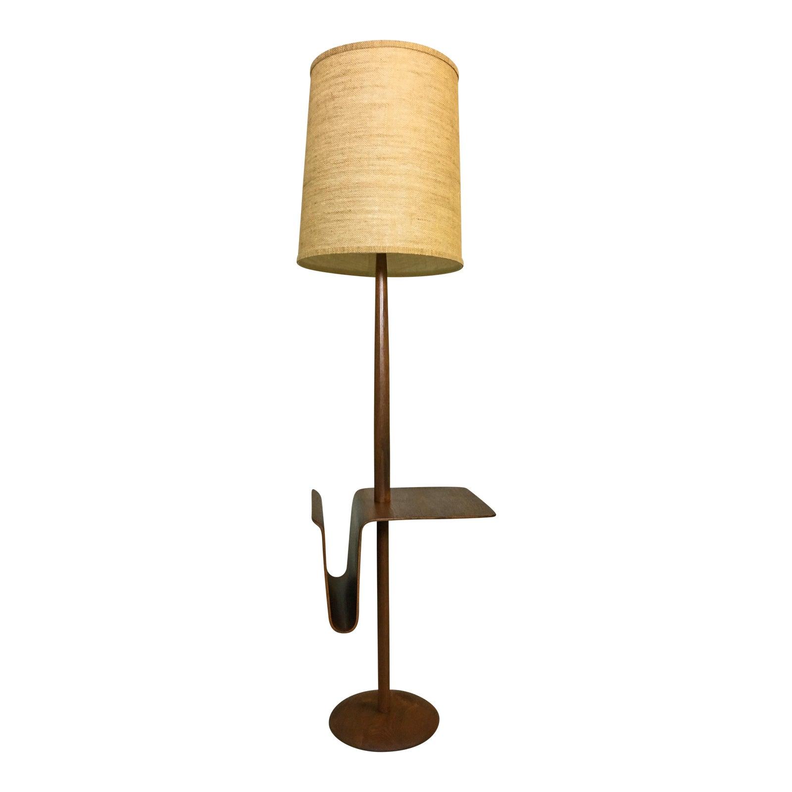 Mid Century Teak Laurel Floor Lamp With Side Table And