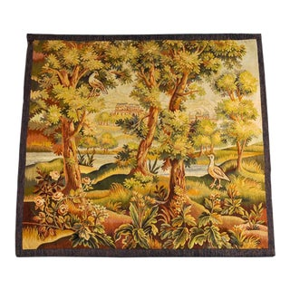 19th Century Antique French Verdure Tapestry With Castle and Birds For Sale