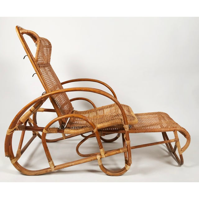 Rattan Reclining Lounge Chair W/ Ottoman For Sale In Kansas City - Image 6 of 10