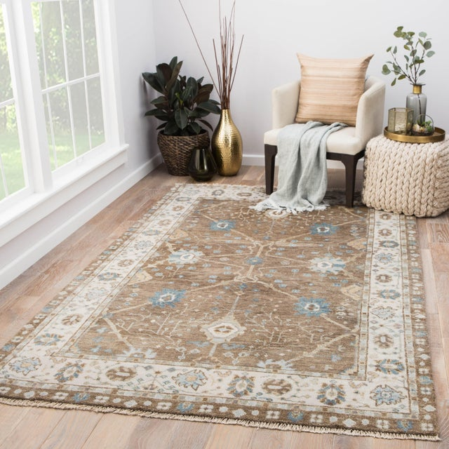 2010s Jaipur Living Princeton Hand-Knotted Floral Tan / Light Blue Area Rug - 5′ × 8′ For Sale - Image 5 of 6