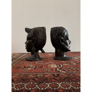 Vintage Carved African Ebony Heads - a Pair Preview