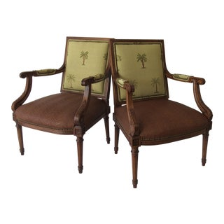 1990s Vintage Palm Beach Style Neoclassical Walnut Carved Arm Chairs - A Pair For Sale