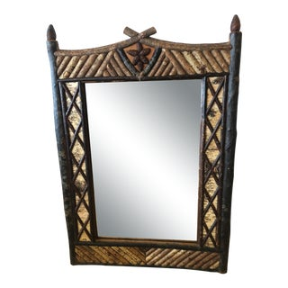Hand Made Tramp Art Wall Mirror For Sale