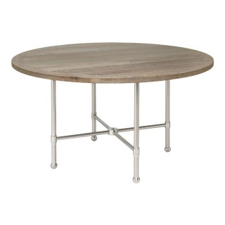 KRB New York Collection Freddie Table Nickel Oak in Cerused Oak For Sale