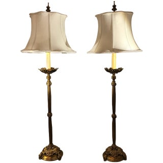 Cast Brass Tall Buffet Lamps - a Pair For Sale