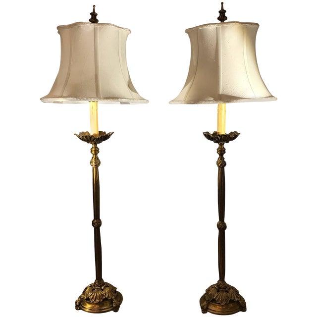 Cast Brass Tall Buffet Lamps - a Pair For Sale
