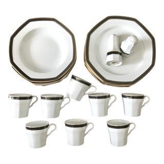 Christopher Stuart Black Dress Black & Gold Octagon Dinnerware for 8 For Sale