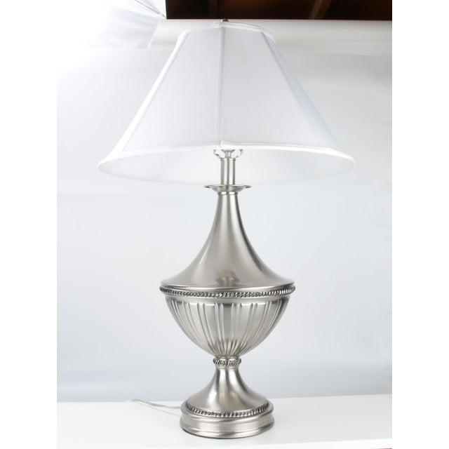 Stiffel Metal Table Lamp & Cotton Shade - Image 11 of 11