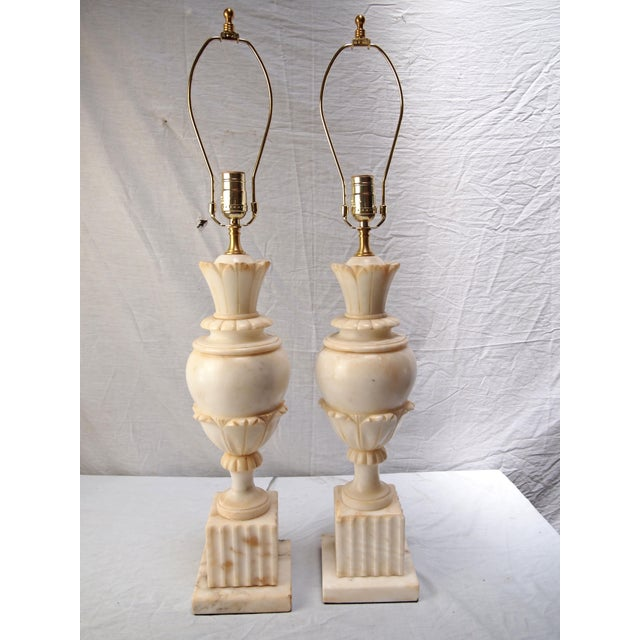 red table pair antiques of lamp lamps alabaster
