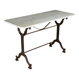 1920s Antique French Cast Iron Marble Top Bistro Table For Sale