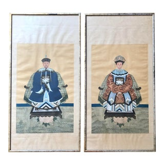 Antique Chinese Ancestor Portraits - a Pair For Sale