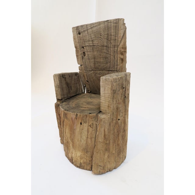 Rustic Childs Wood Stump Chair For Sale - Image 3 of 6