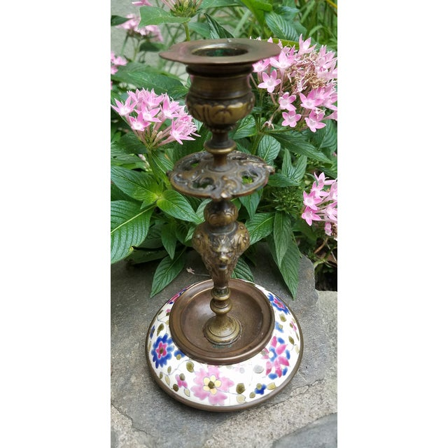 Continental Bronze & Porcelain Candlestick - Image 8 of 9