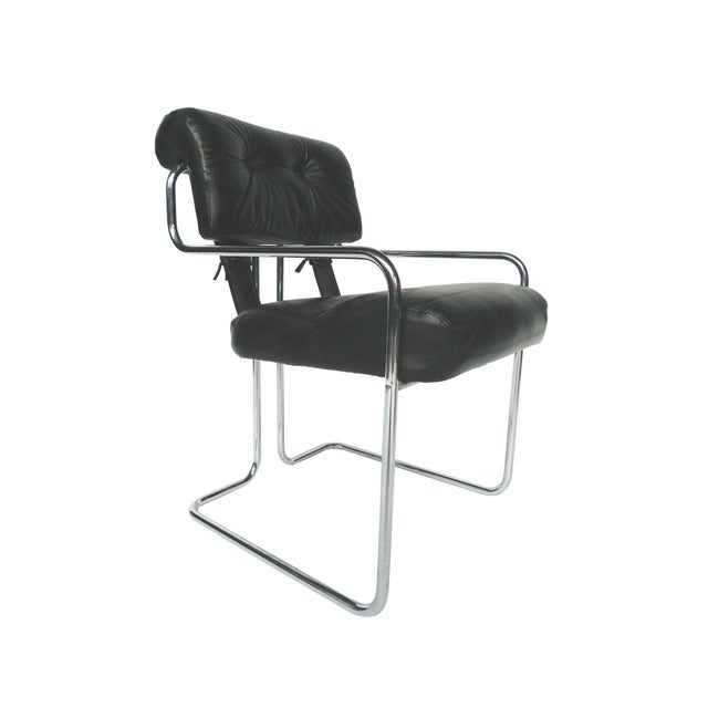 Tucroma Black Leather & Chrome Dining Chairs - Set of 4 - Image 3 of 10
