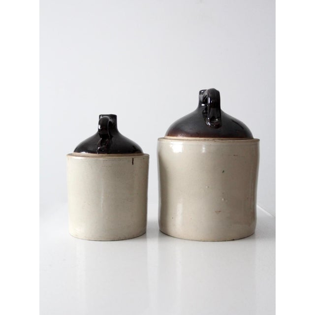 Cottage Antique Western Stoneware Jugs - A Pair For Sale - Image 3 of 9