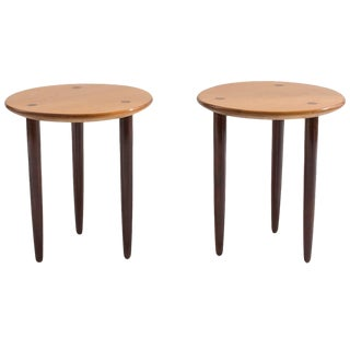 1960s Mid-Century Modern Tripod Two Tone Birch Side Tables - a Pair For Sale