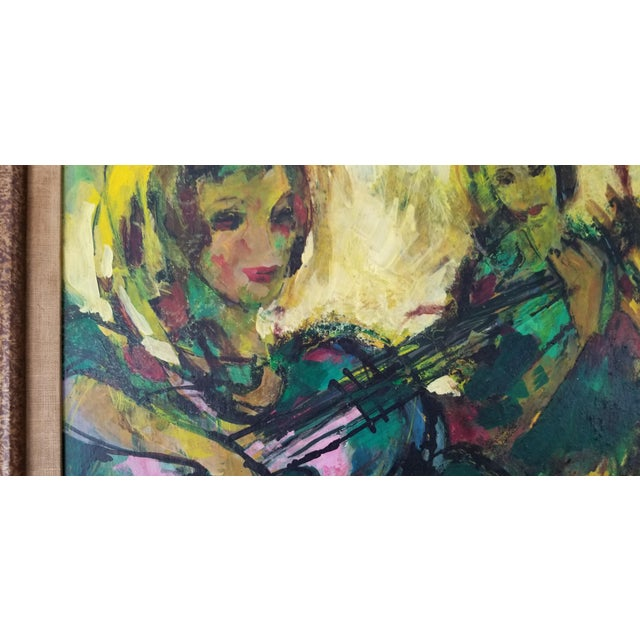 1960s 1960 Fran Archdeacon Oil Painting of Two Females With Guitar For Sale - Image 5 of 13