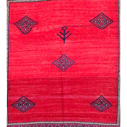 Islamic Red & Blue Vintage Turkish Kilim Rug - 6′ × 7′ For Sale - Image 3 of 8