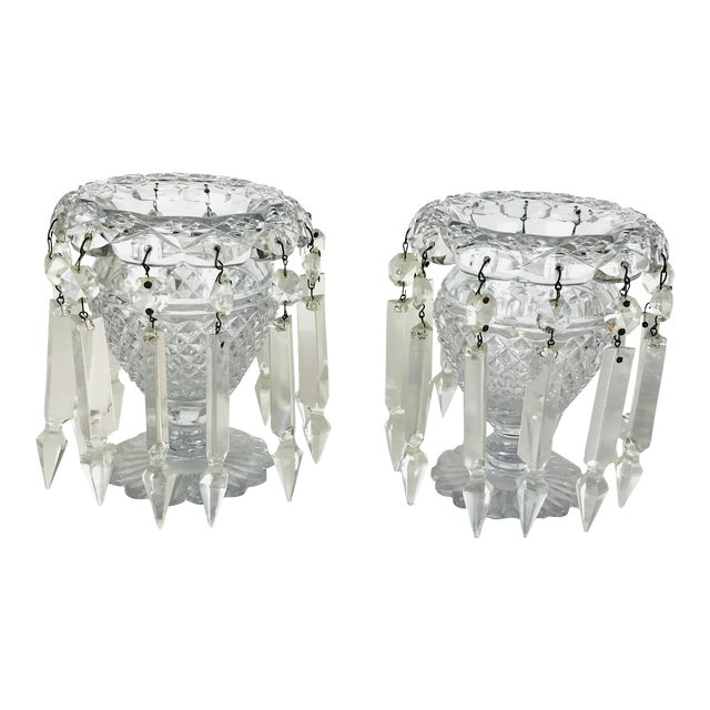 Vintage Crystal Girandoles /Luster Candle Holders - a Pair For Sale