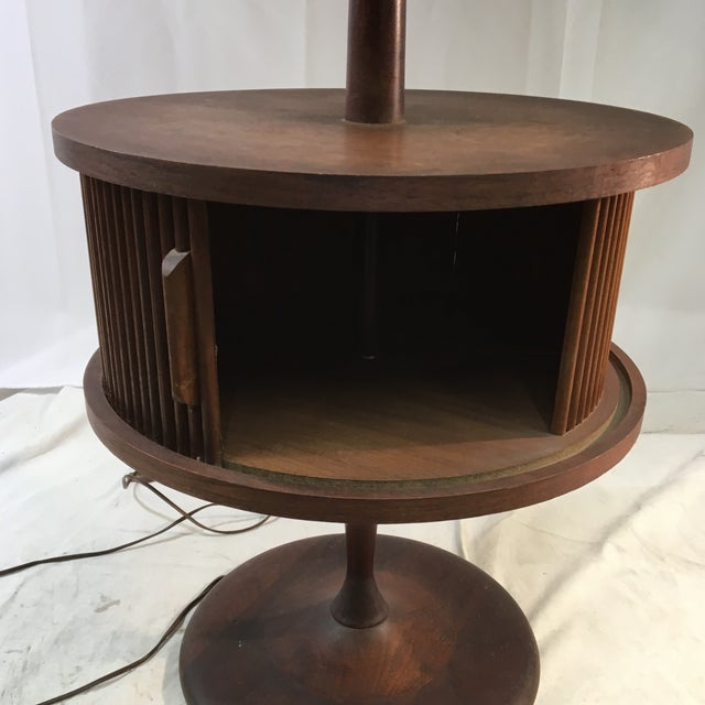 Mid-Century Modern Vintage Mid-Century Leviton Wooden Floor Lamp With Tray Table and Sliding Compartment For Sale - Image 3 of 13