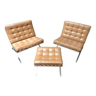 Knoll Barcelona Chairs and Ottoman For Sale