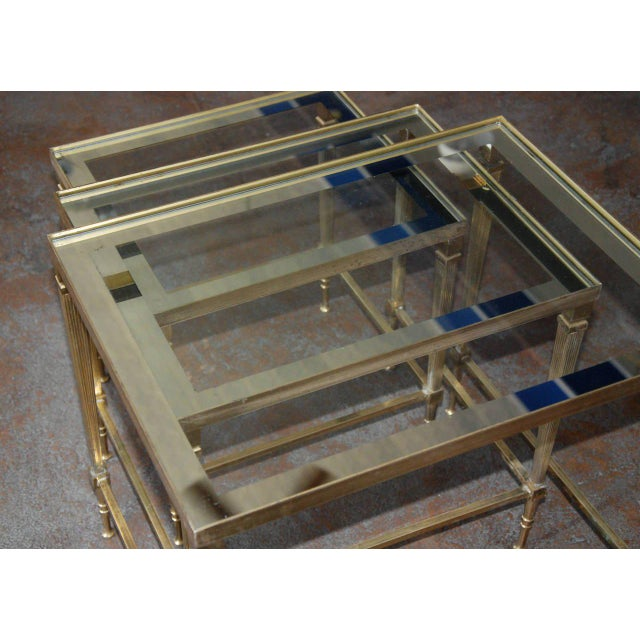 Circa 1950, Italian, Mid-Century Modern, Brass & Mirrored Glass, Nesting Tables - Set Of For Sale - Image 9 of 10